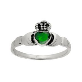 Celtic Claddagh Silver Ring with Emerald colour stone 0760